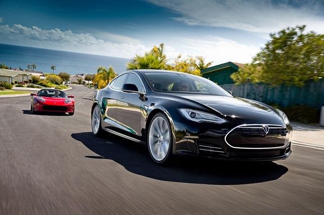 Model S Alpha & Roadster on the Road Together.