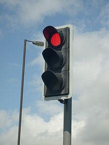 A traffic signal employing LEDs.