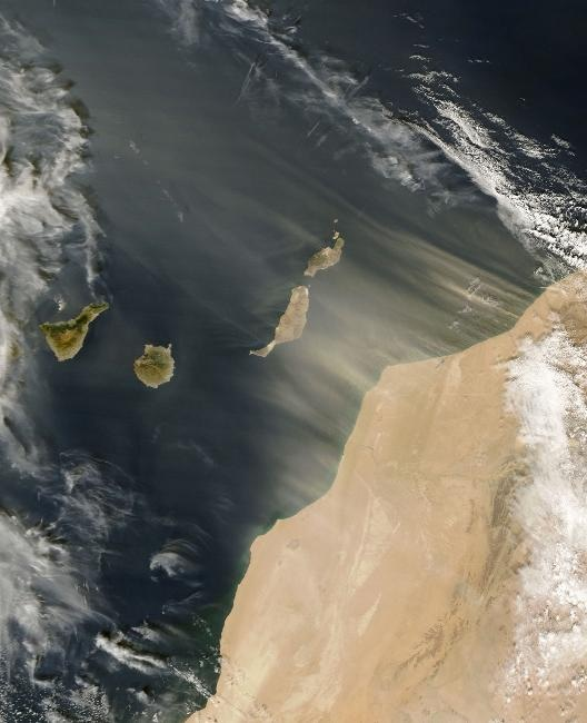 Saharan dust blowing off the west coast of Africa and over the Canary Islands (a Spanish archipelago). Image credit: CIA Factbook