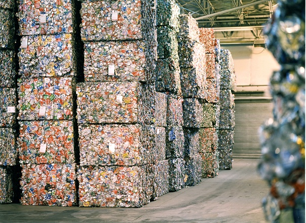 Bales of crushed aluminum cans at Novelis recycling plant in Berea, Kty.