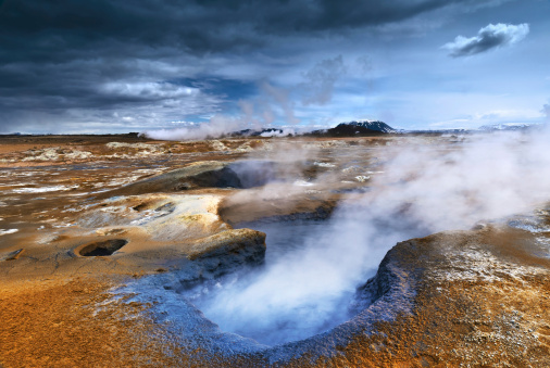 Hot springs such as this gave way to the collection and distribution of Geothermal energy through power plants.