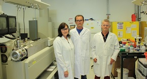 (From left) Berit Ebert, Carsten Rautengarten and Henrik Scheller at JBEI have developed an assay for characterizing the functions of nucleotide sugar transporters in plant cell walls.