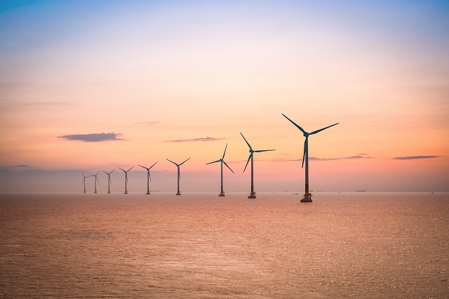 Offshore wind farm at dusk in the East China sea
