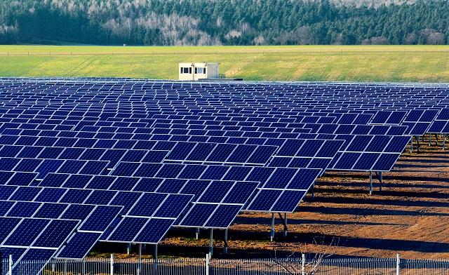 Solar power plant under construction in Germany, Saxony, near Gera.