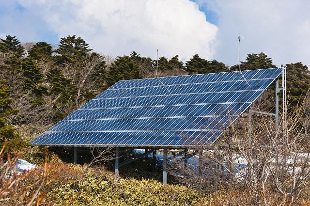 Solar panel at Hallasan mountain on the Jeju island of South Korea