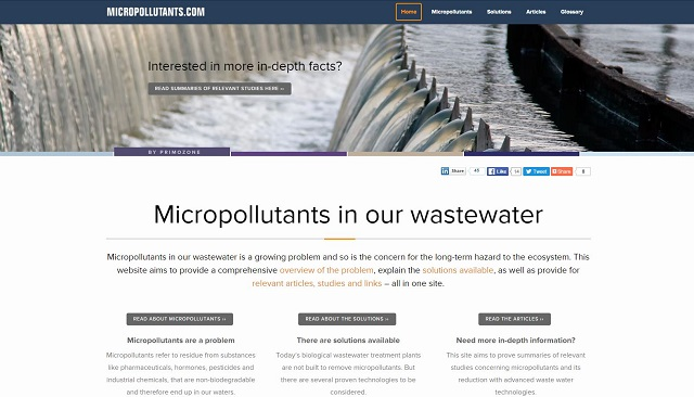 The new micropollutants website released by Primozone aims to spread knowledge regarding the problems, solutions and research surrounding micropollutants.