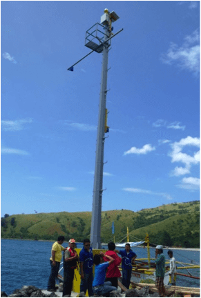 Crew works on a tide gauge platform in the Tsunami Early Warning System.