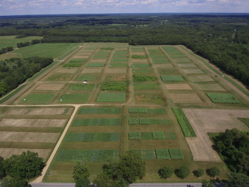 PHOTO OF THE BIOFUELS CROPPING SYSTEM EXPERIMENT IN MICHIGAN, TAKEN BY AN UNMANNED AERIAL VEHICLE (UAV)