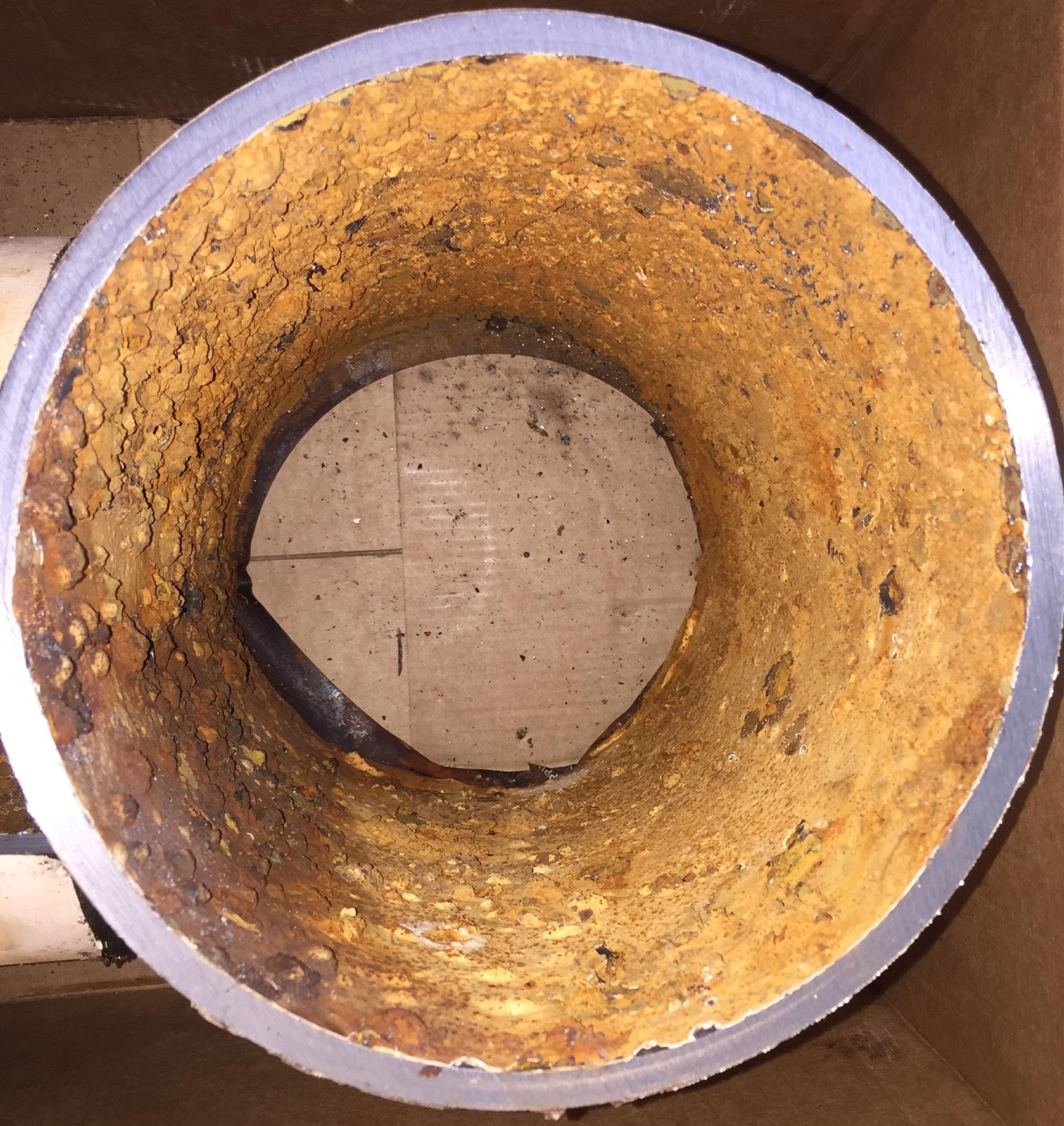 The rusted interior of this water pipe contains chromium that reacts with residual water disinfectants to form carcinogenic hexavalent chromium. Image Credit: Water Chemistry and Technology Lab/UCR.