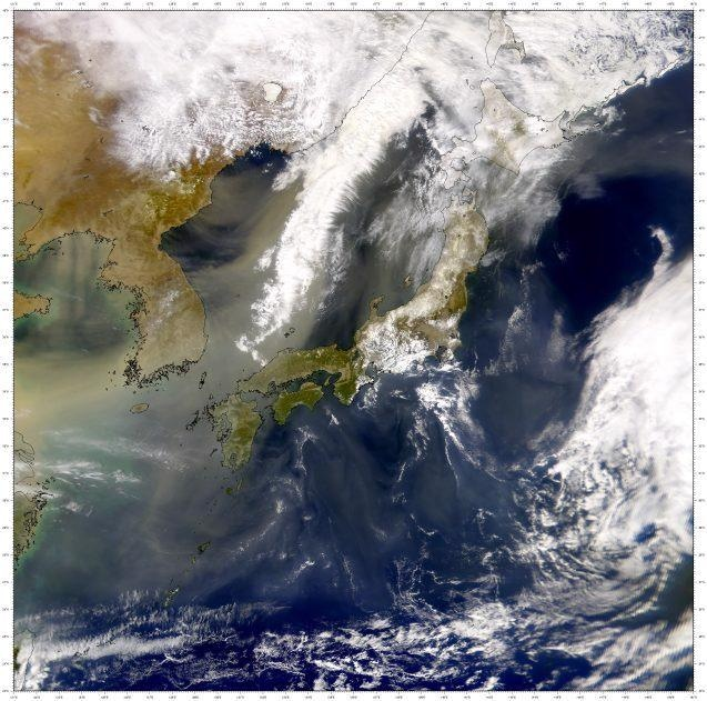 Image of a dust plume leaving China and crossing the Korean Peninsula and Japan.