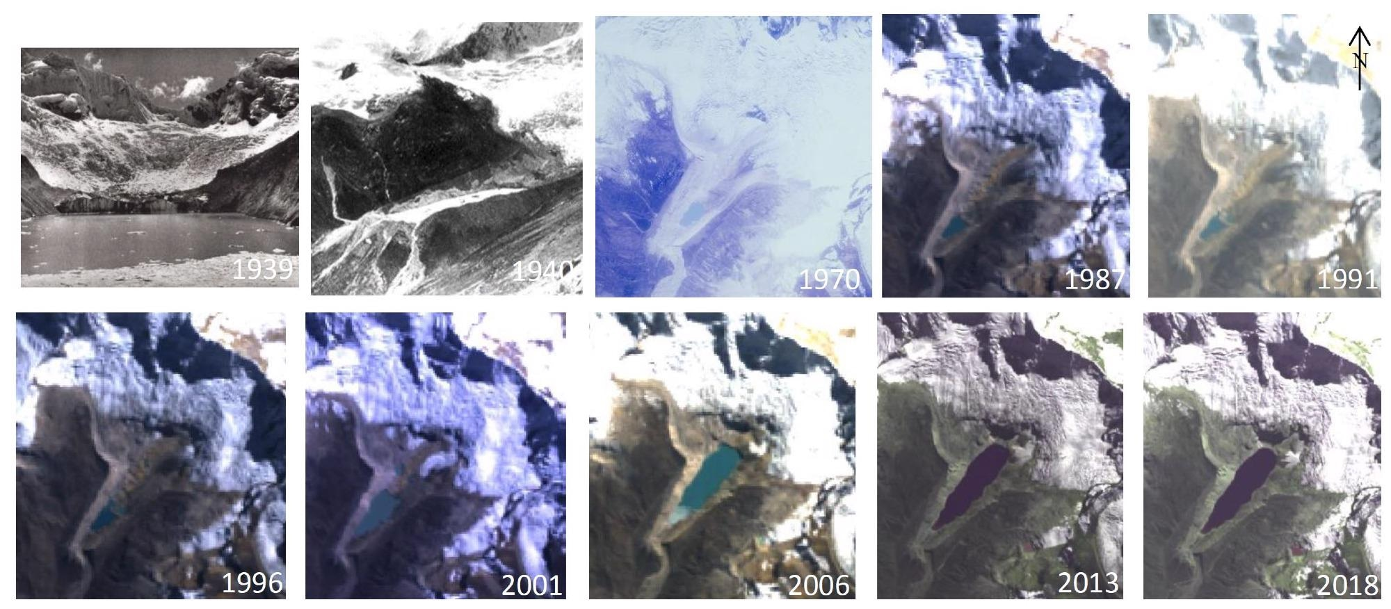Historical photographs (first three panels) and satellite images show how Lake Palcacocha has grown as the glacier has receded.