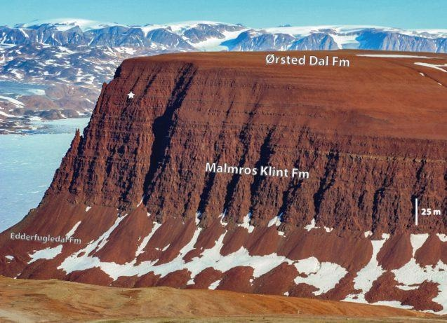 A cliff in Jameson Land Basin in central East Greenland, the northernmost site where sauropodomorph fossils are found. The labels point out several series of layers that helped the researchers precisely date the oldest sauropodomorph fossils in North America.