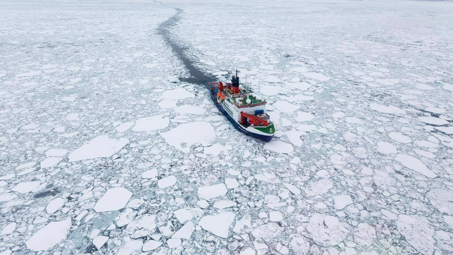 The research vessel Polarstern drifting in Arctic sea ice.