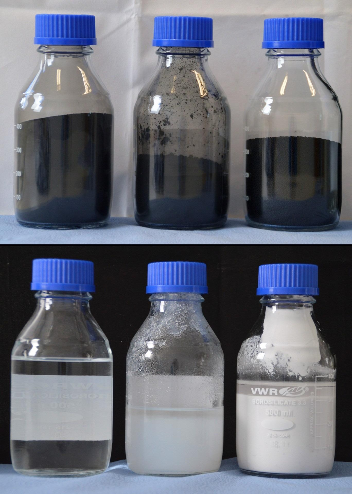 """Top, primary product from left to right: raw rCB, clean rCB (96+), pearlized clean rCB (96+). Bottom, secondary products recovered from the ash, from left to right: liquid sodium silicate or """"water glass"""", precipitated SiO2, precipitated ZnSO4. Image Credit: Fraunhofer Institute for Building Physics IBP."""